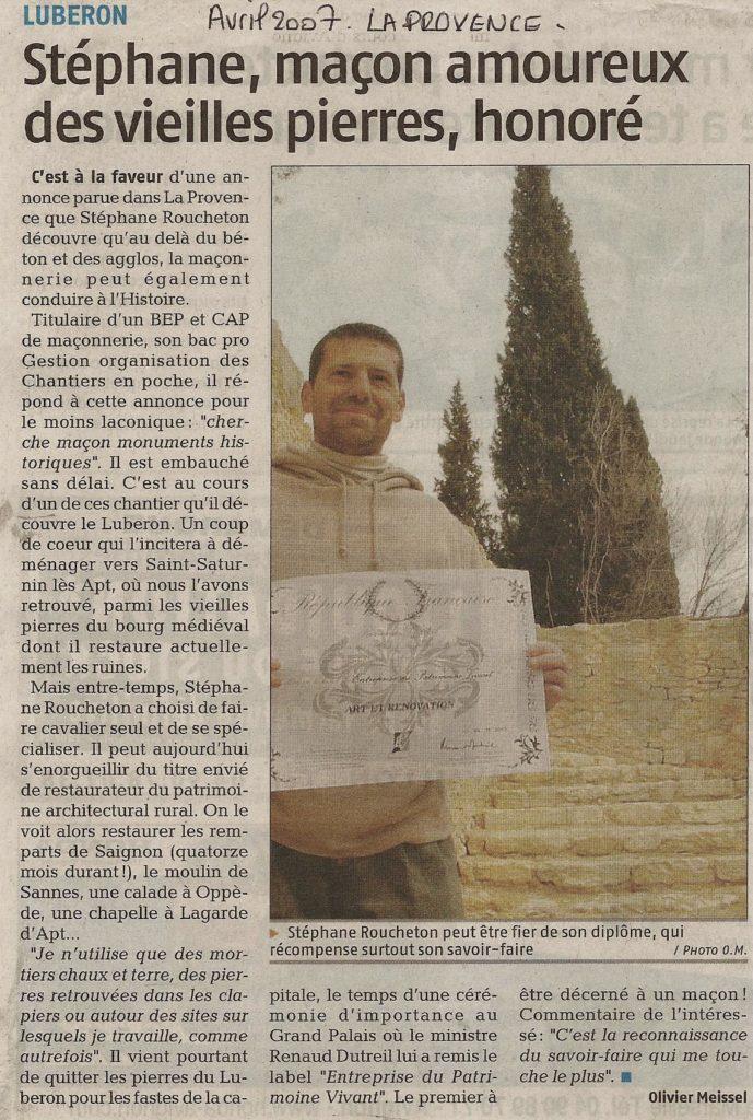 Article paru dans le journal la Provence le 12 Avril 2007